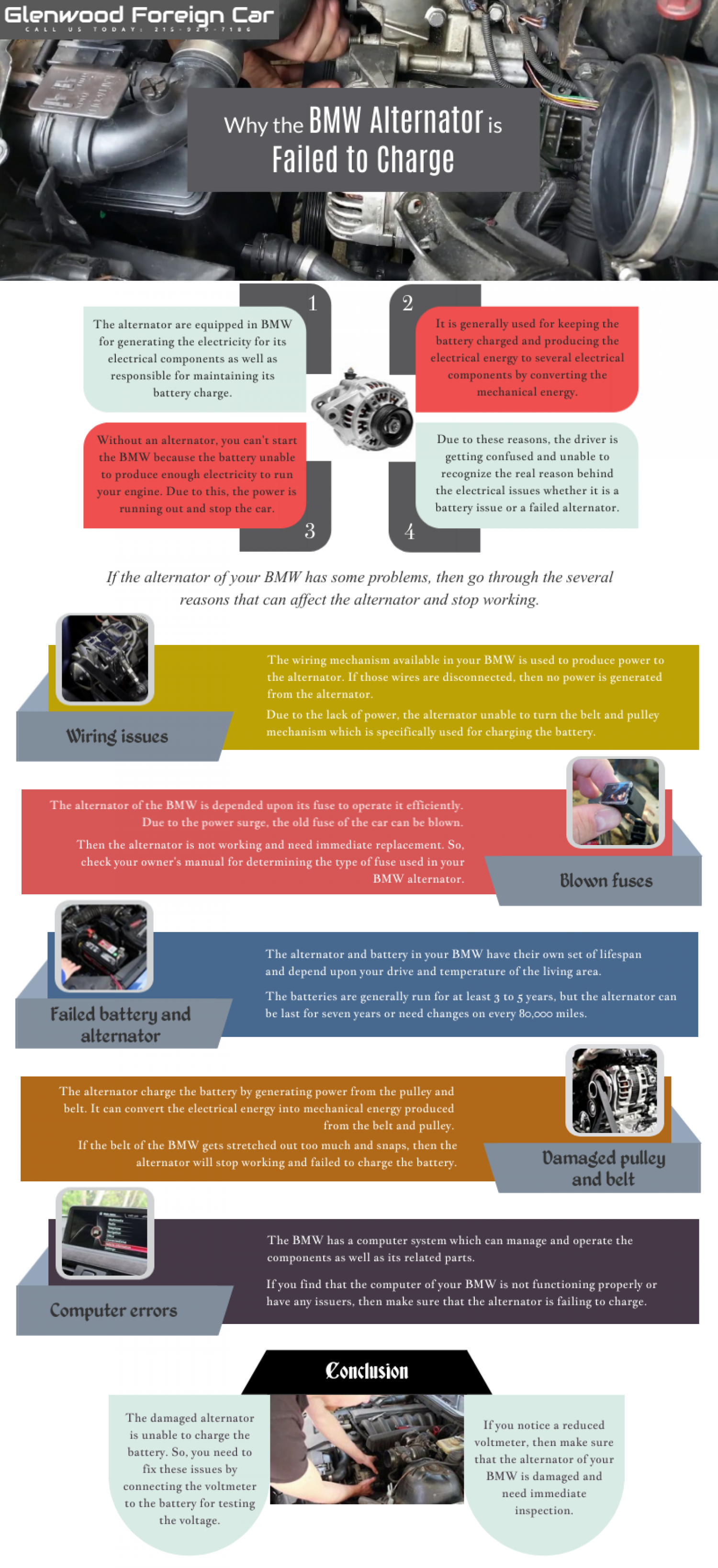 Why the BMW Alternator is Failed to Charge? Infographic