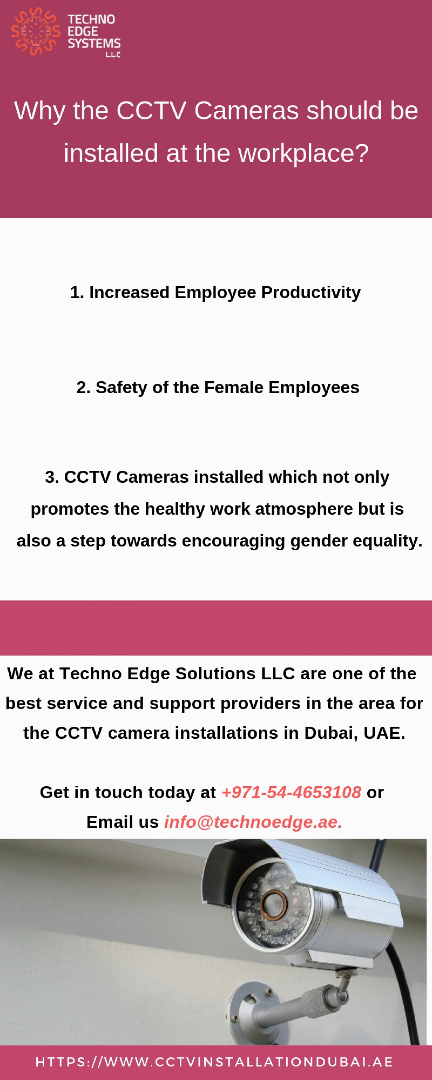 Why the CCTV cameras should be installed at the workplace? Infographic