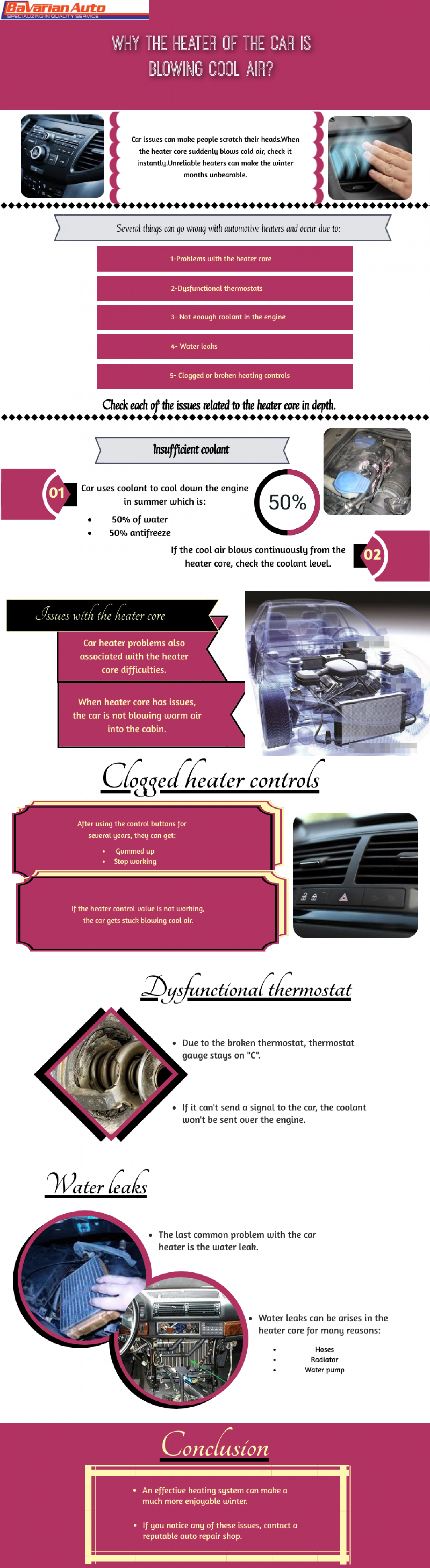 Why the heater of the car is blowing cool air Infographic
