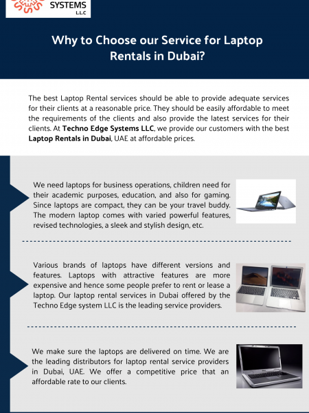 Why to Choose our Service for Laptop Rentals in Dubai? Infographic