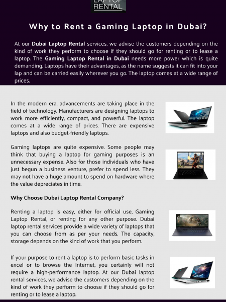 Why to Rent a Gaming Laptop in Dubai? Infographic