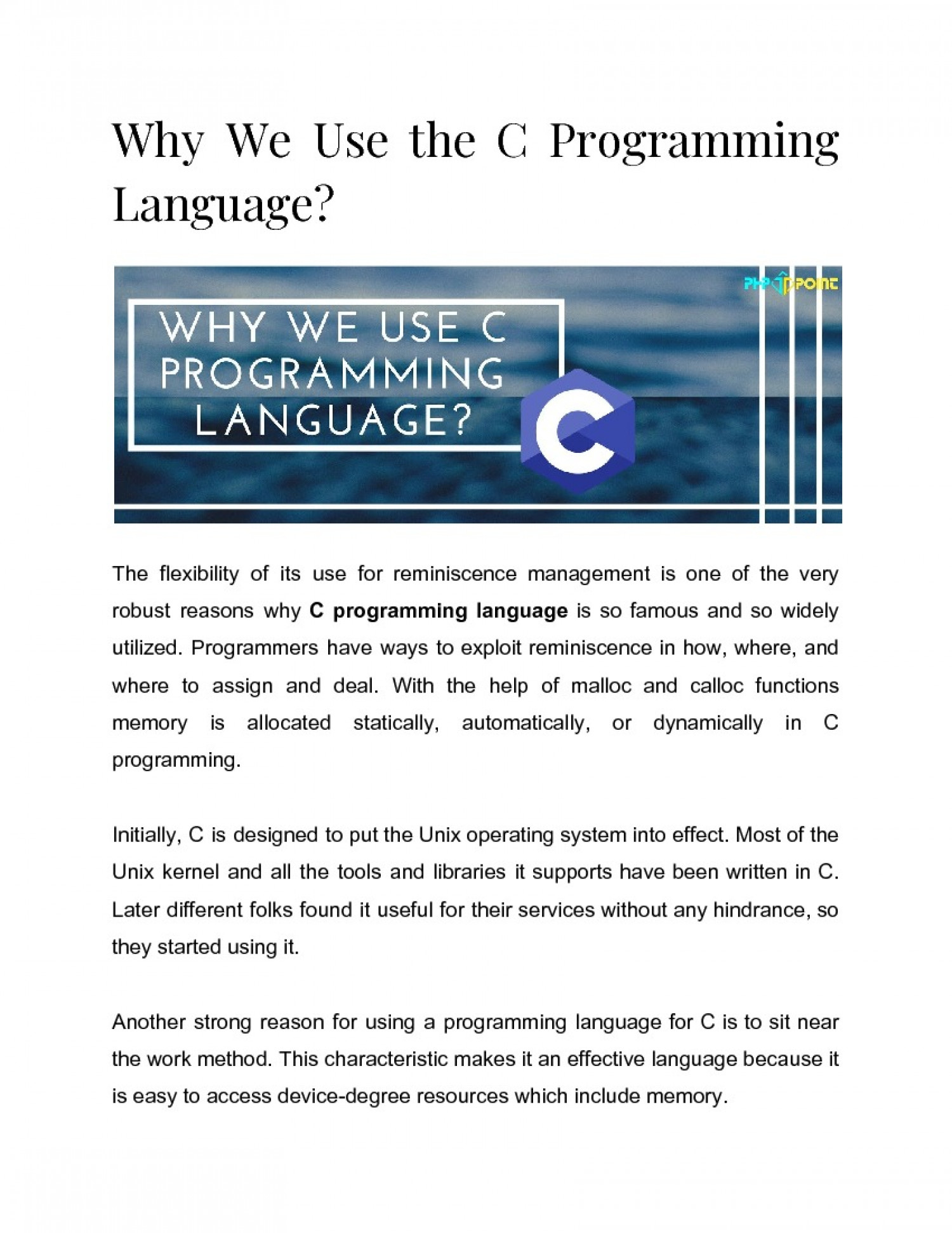 Why We Use The C Programming Language? Infographic