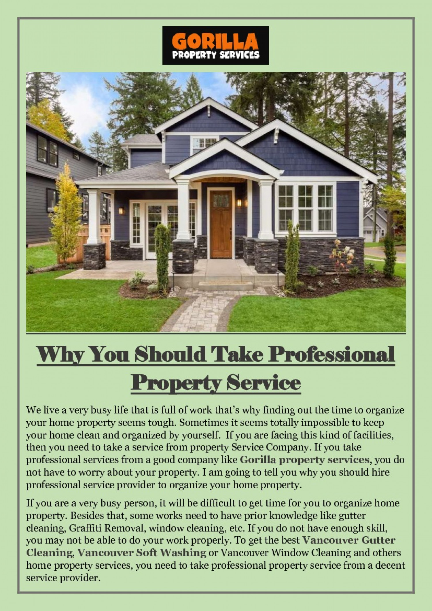 Why You Should Take Professional Property Service  Infographic