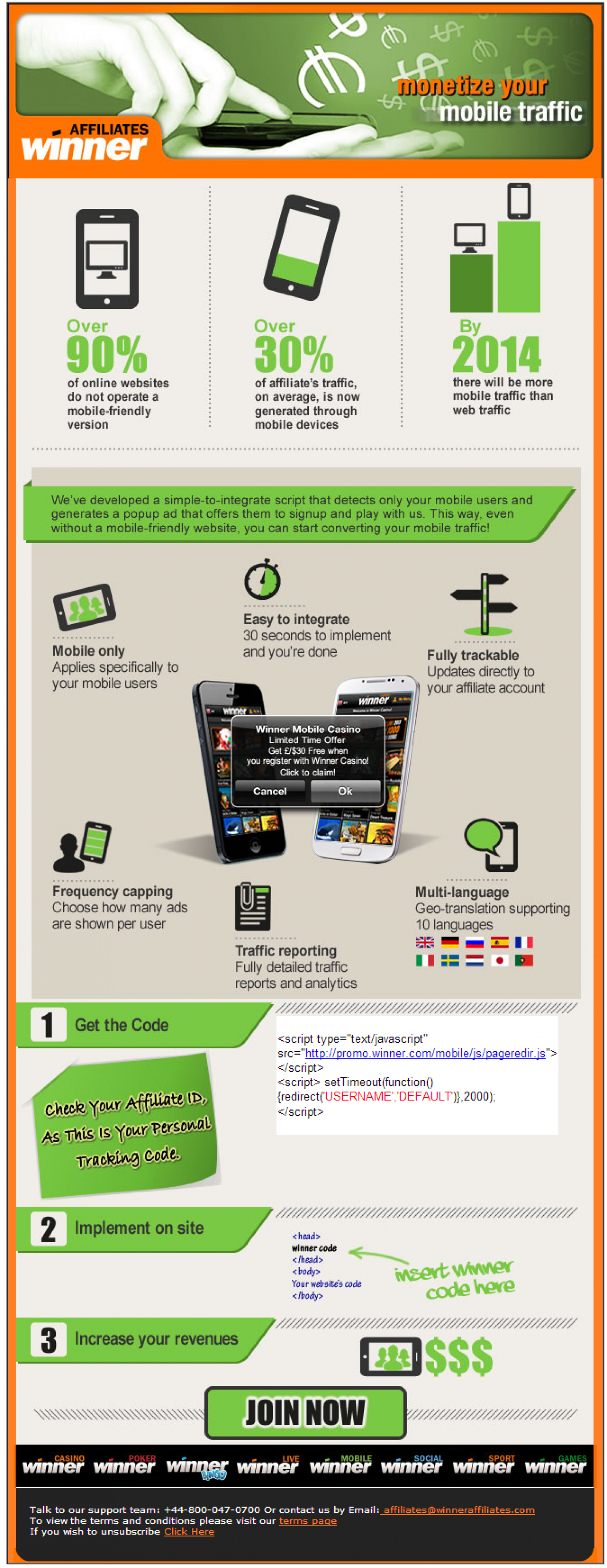 Winner is dominating Mobile! Read all about how you can start monetizing your mobile traffic!  Infographic