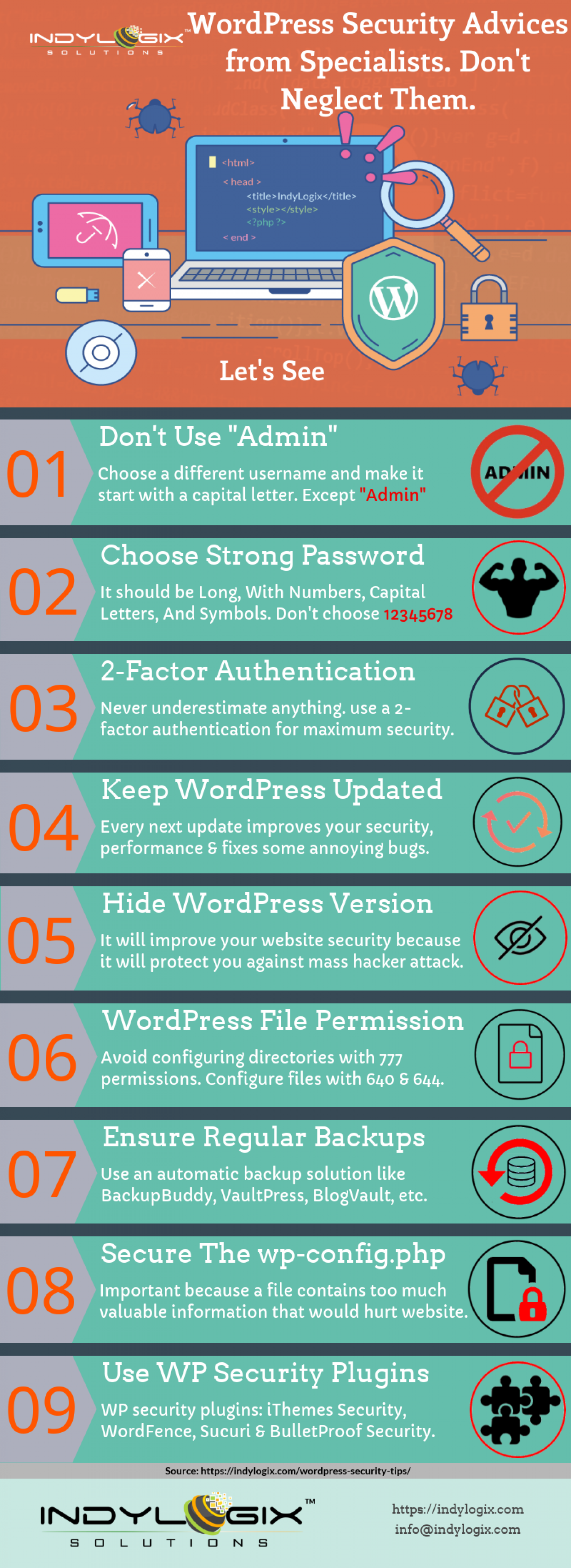 WordPress Security Tips by Experts! Don't Neglect It Any More! Infographic