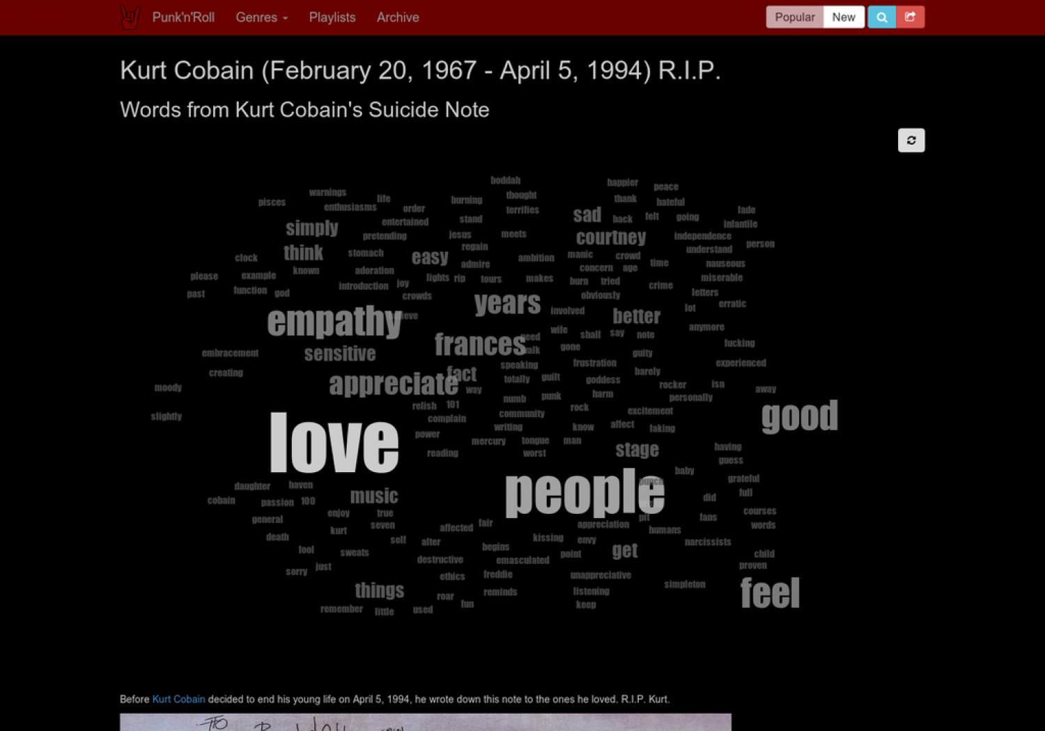 Words from Kurt Cobain's Suicide Note Infographic
