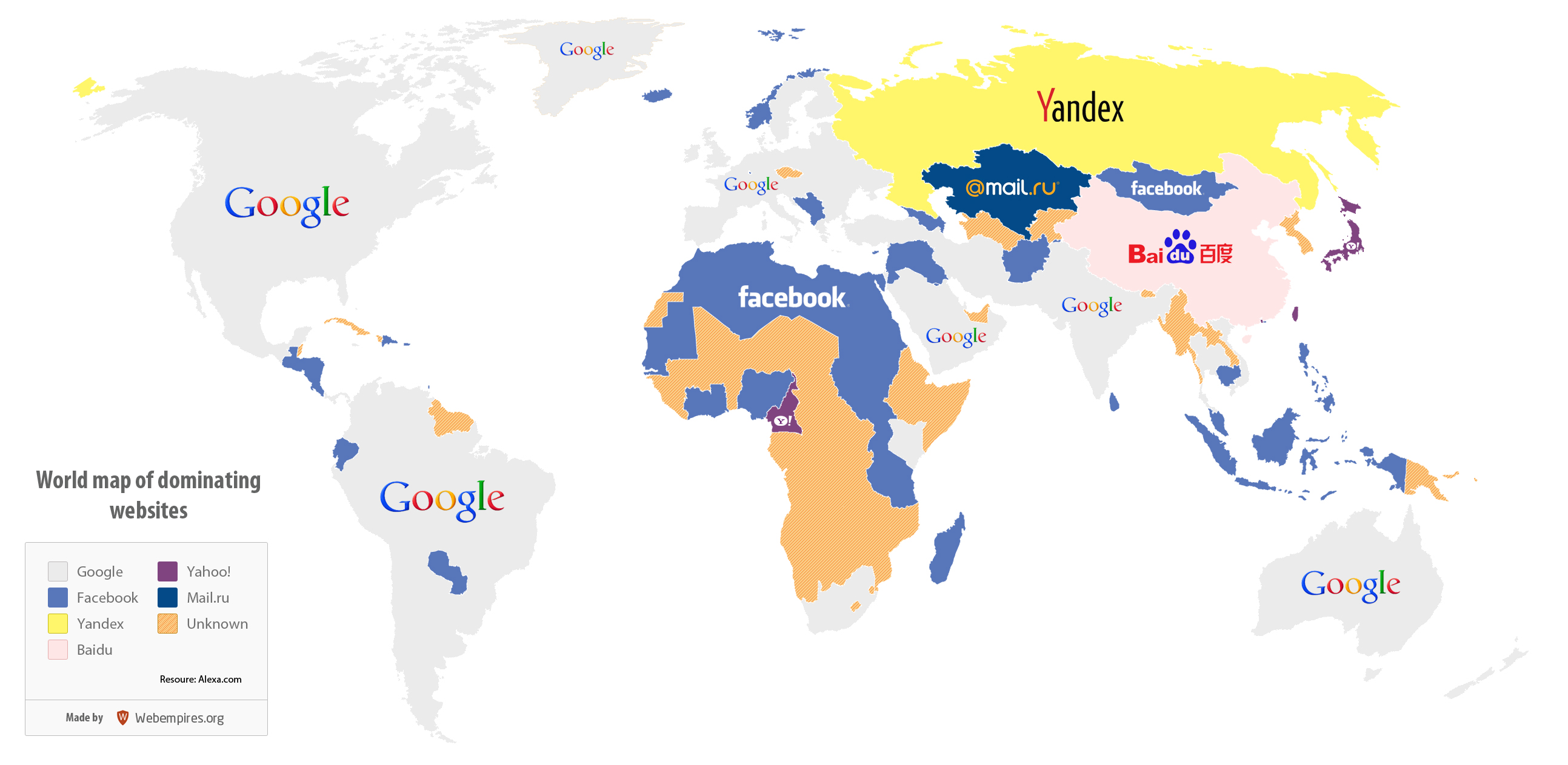 Search World Map.World Map Of Dominating Websites Visual Ly