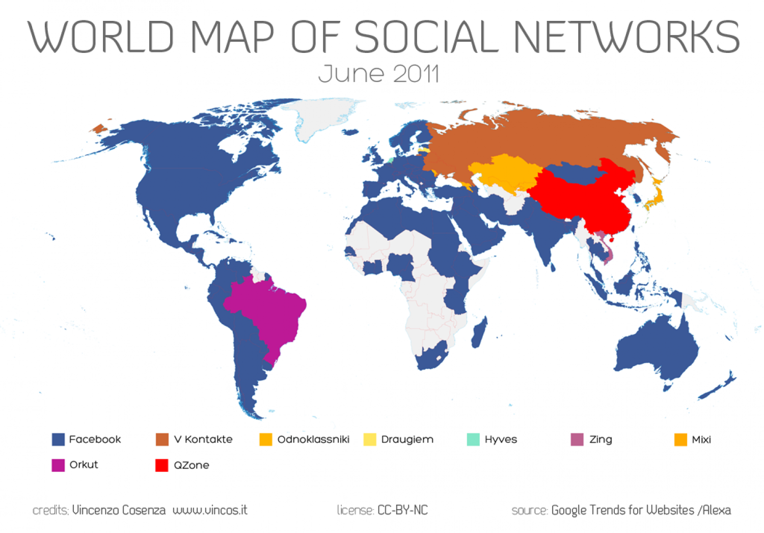 World Map of Social Networks - June 2011 Infographic