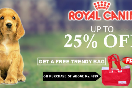 Wow! Upto 25%OFF: Royal Canin + Free Trendy Bag:Shop Now Infographic