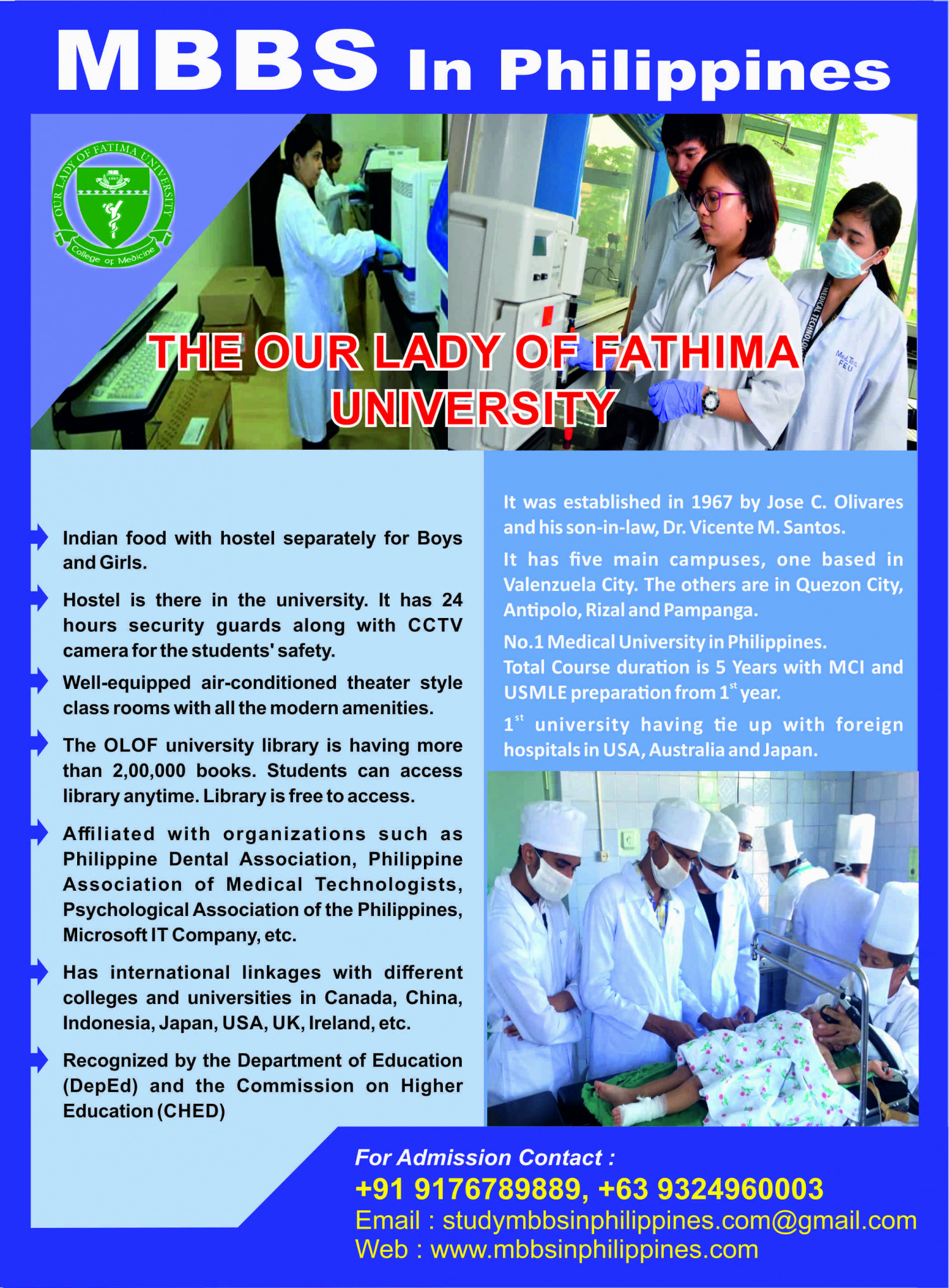 Our Lady of  Fatima University | MBBS in Philippines Infographic