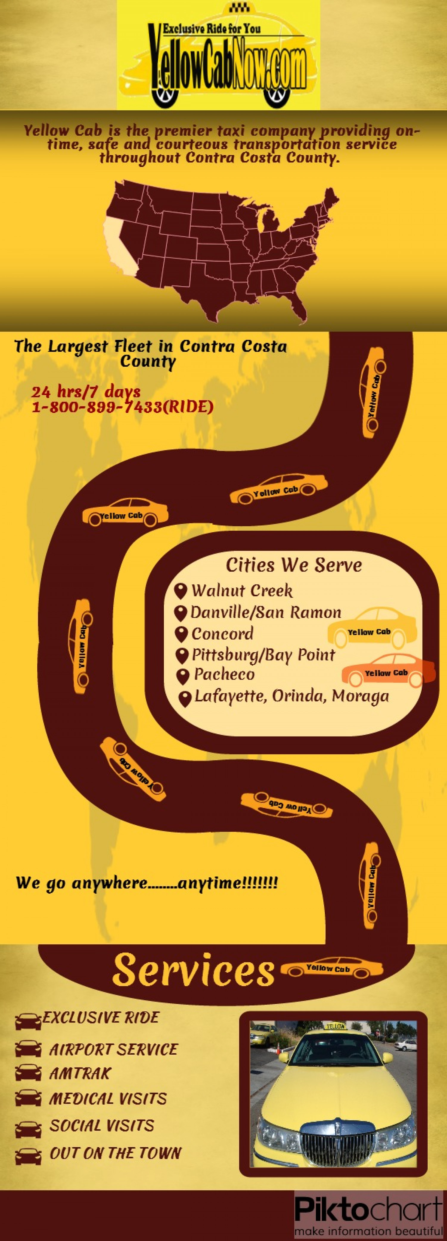 Yellow Cab Services throughout Contra Costa County Infographic